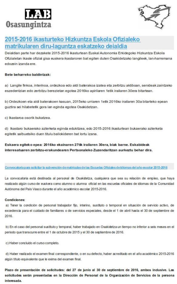 2015-2016 ikasturteko Hizkuntza Eskola Ofizialeko matrikularen diru-laguntza eskatzeko deialdia