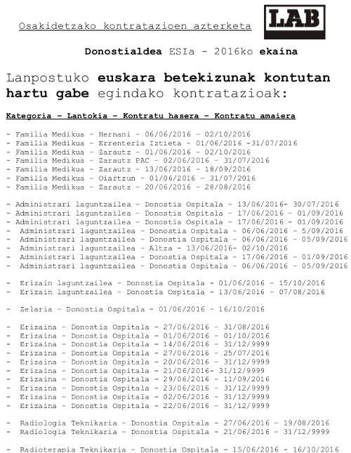 Euskara Kontratazio azterketa donostialdea ekaina