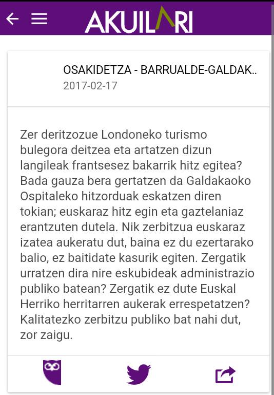 Galdakaon hitzorduak ezin euskaraz